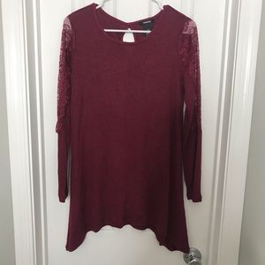 Maroon Long Sleeve Lace Arm Sweater Shirt